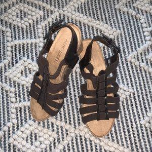 Aerosoles Brown Strappy Cork Wedge Sandals